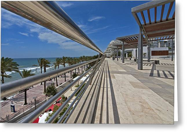 Stainless Steel Greeting Cards - Marbella Seafront 1 Greeting Card by Kenton Smith
