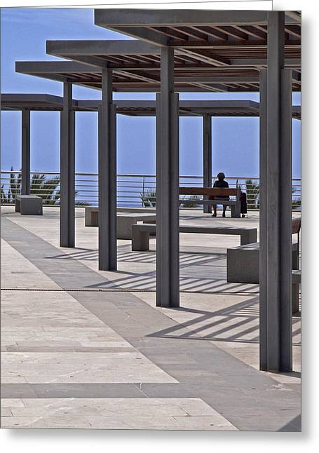Stainless Steel Greeting Cards - Marbella Seafront 2 Greeting Card by Kenton Smith