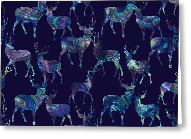 Violet Art Greeting Cards - Marble Deer Greeting Card by Varpu Kronholm