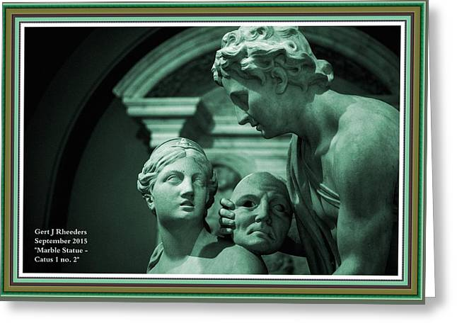 Cellphone Greeting Cards - Marble Statue Catus 1 no. 2 H A With Decorative Ornate Printed Frame. Greeting Card by Gert J Rheeders