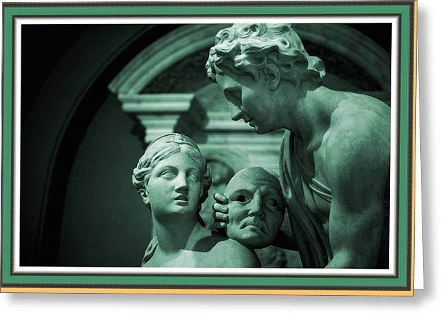 Cellphone Greeting Cards - Marble Statue Catus 1 no. 2 H B With Decorative Ornate Printed Frame. Greeting Card by Gert J Rheeders