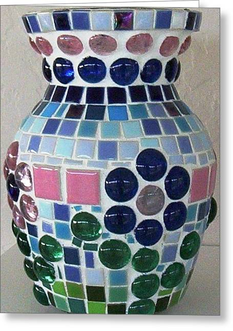 Mosaic Ceramics Greeting Cards - Marble Vase Greeting Card by Jamie Frier