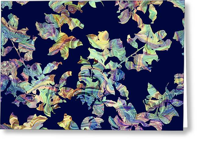 Cushion Greeting Cards - Marbled Branches Greeting Card by Varpu Kronholm