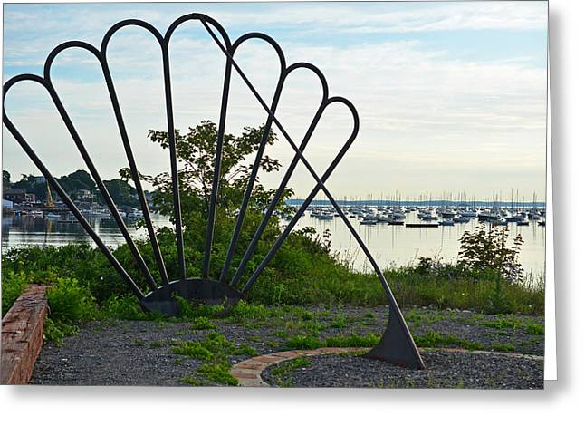 Habor Greeting Cards - Marblehead Harbor Shell Sundial Marblehead MA Greeting Card by Toby McGuire