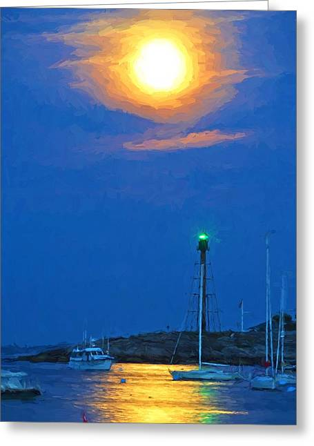 Marblehead Light Tower Supermoon Van Gogh Style Greeting Card by Toby McGuire