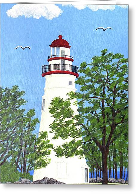 Lighthouse Greeting Cards - Marblehead Lighthouse Painting Greeting Card by Frederic Kohli