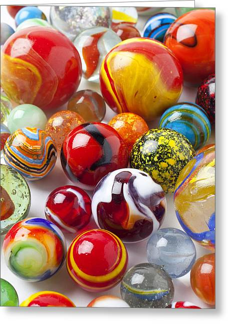 Plaything Greeting Cards - Marbles close up Greeting Card by Garry Gay