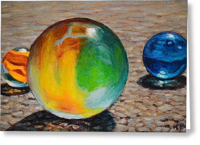 Realism Glass Art Greeting Cards - Marbles Greeting Card by Kenneth Cobb