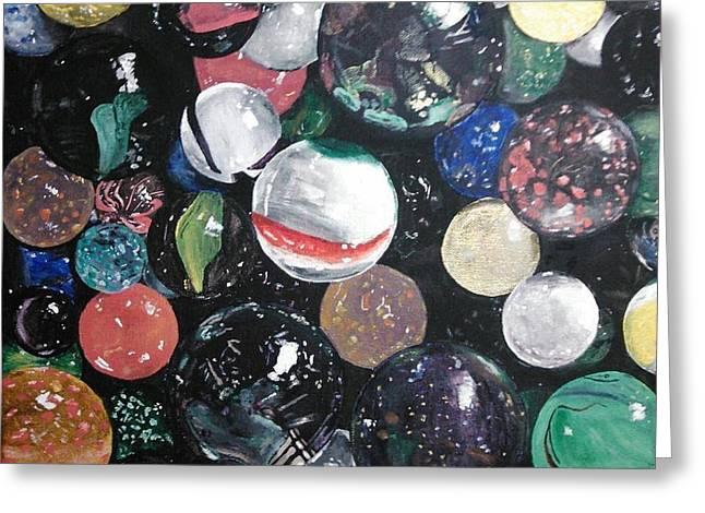 Marble Eye Paintings Greeting Cards - Marbles on Black Greeting Card by Virgie Guthrie