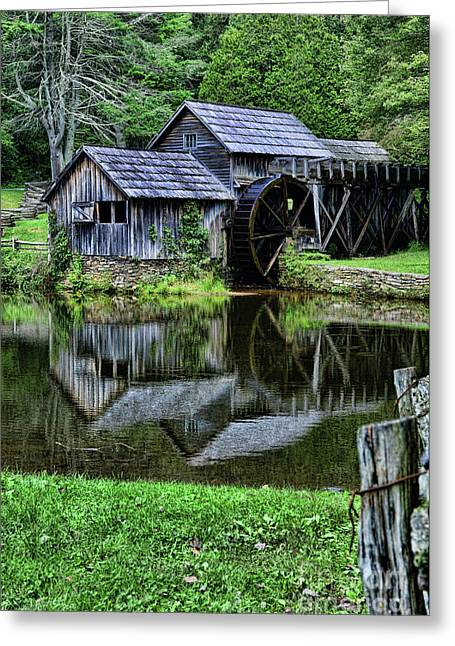 Marby Mill Reflection Greeting Card by Paul Ward