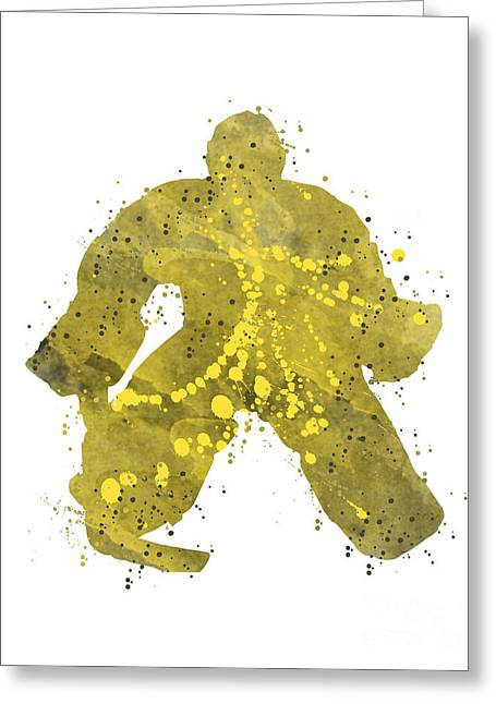 Goaltender Paintings Greeting Cards - Marc Andre Fluery Greeting Card by Scott Karan