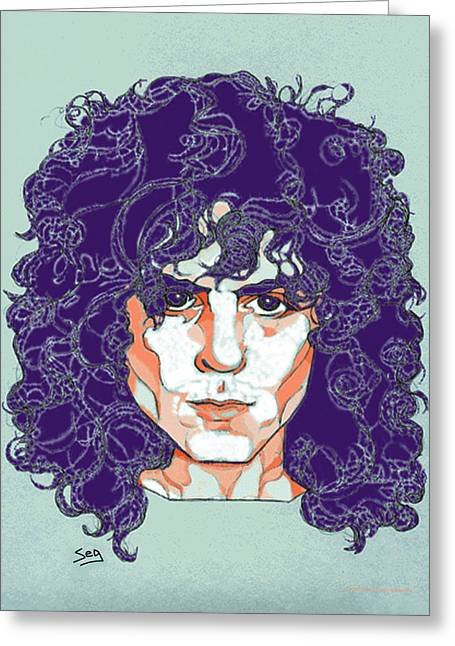 Singer Songwriter Drawings Greeting Cards - Marc Bolan Greeting Card by Suzanne Gee