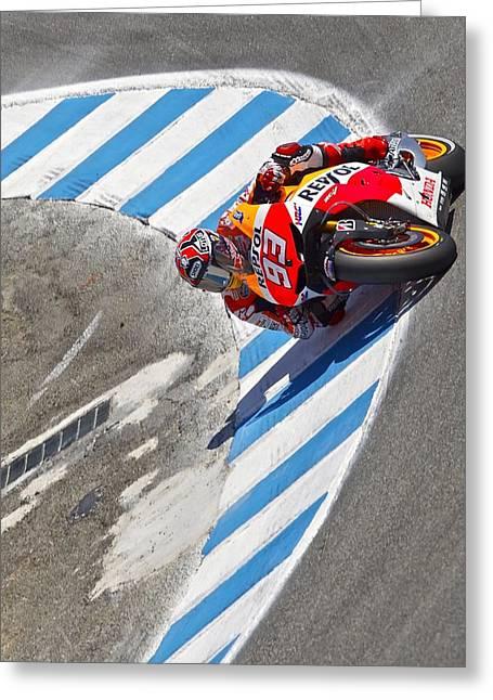 Sec Greeting Cards - Marc Marquez Repsol Honda Greeting Card by Tom  Hnatiw