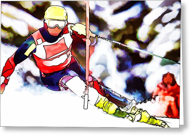 Marcel Hirscher Skiing Greeting Card by Lanjee Chee