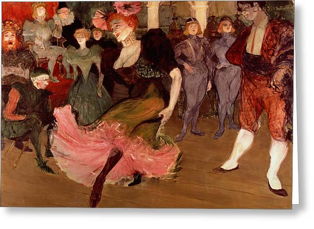 Chest Paintings Greeting Cards - Marcelle Lender dancing the Bolero in Chilperic Greeting Card by Henri de Toulouse Lautrec