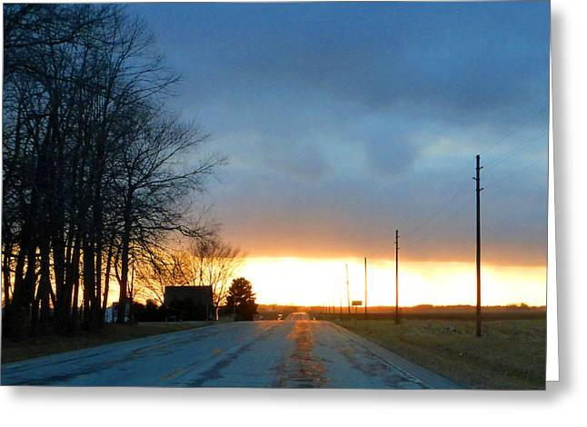 Lawn Chair Greeting Cards - March 28 2015 sunset Greeting Card by Tina M Wenger