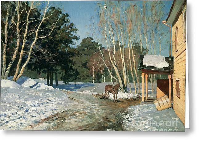Woodland Scenes Greeting Cards - March Greeting Card by Isaak Ilyich Levitan