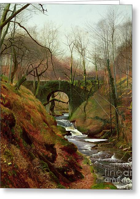 Flowing Stream Greeting Cards - March Morning Greeting Card by John Atkinson Grimshaw