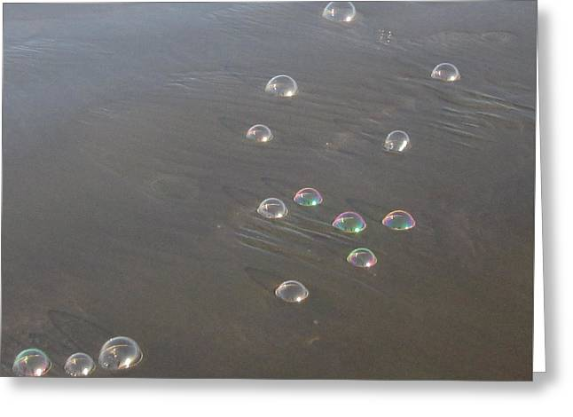 March Of The Bubbles Greeting Card by Marie Neder