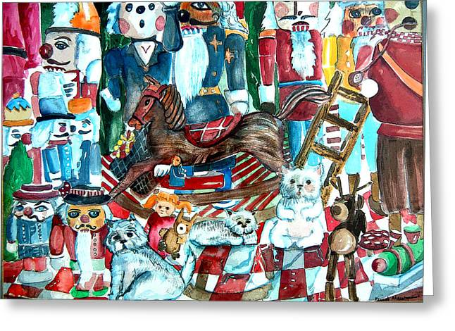 Toy Dogs Mixed Media Greeting Cards - March of the Wooden Soldiers Greeting Card by Mindy Newman