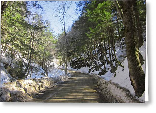 New England Snow Scene Greeting Cards - March Road Greeting Card by MTBobbins Photography