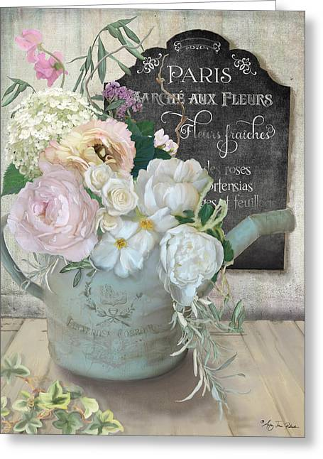 Marche Paris Fleur Vintage Watering Can With Peonies Greeting Card by Audrey Jeanne Roberts