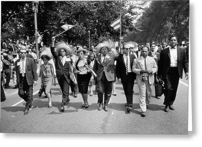 Civil Rights Movement Greeting Cards - Marchers Wearing Hats Carry Puerto Rican Flags Down Constitution Avenue Greeting Card by Nat Herz