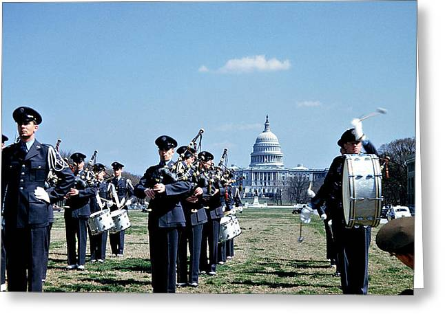 Marching Band Greeting Cards - Marching Band at Capitol Greeting Card by Marilyn Hunt