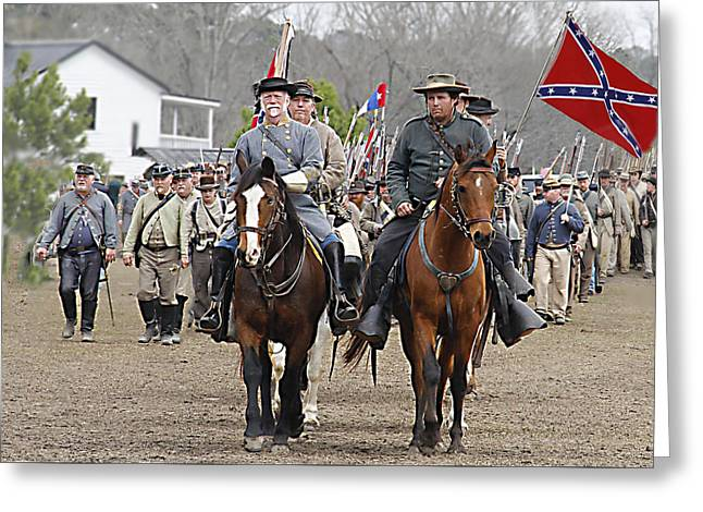 Confederate Flag Greeting Cards - Marching Off  color Greeting Card by Frank Savarese