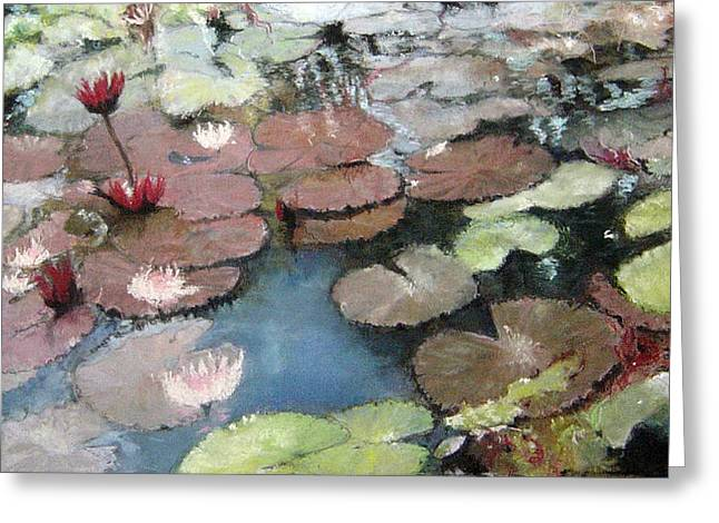 Water Lilly Pastels Greeting Cards - Marcias Lillies Greeting Card by Anita Stoll