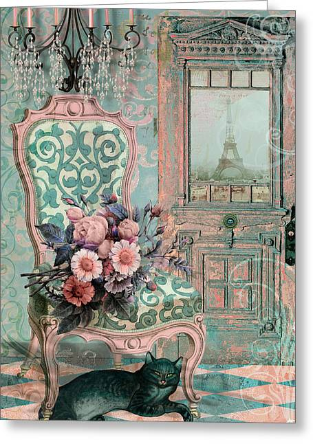 Marcie In Paris Greeting Card by Mindy Sommers