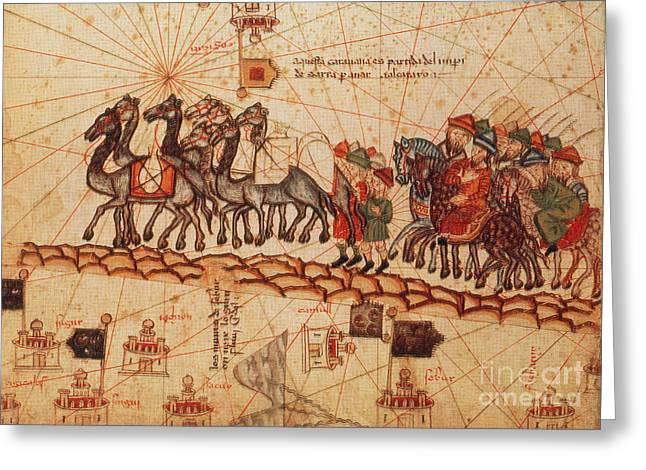 Description Greeting Cards - Marco Polos Caravan, 14th Century Greeting Card by Photo Researchers