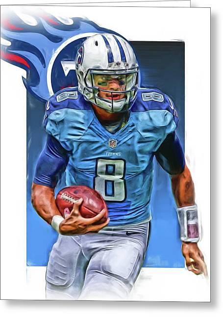 Marcus Mariota Tennessee Titans Oil Art Greeting Card by Joe Hamilton