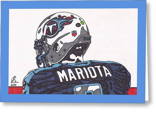 Pen Greeting Cards - Marcus Mariota Titans 2 Greeting Card by Jeremiah Colley