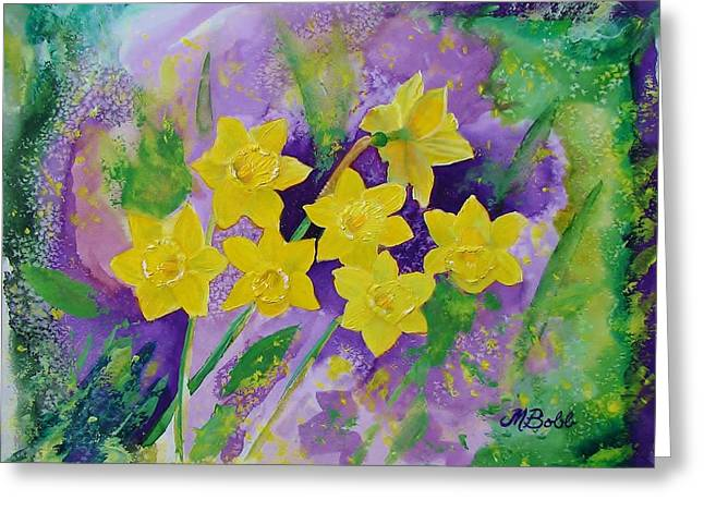 Mardi Gras Daffodils Greeting Card by Margaret Bobb