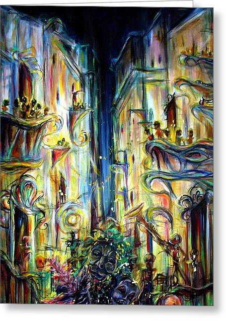 Night-scape Greeting Cards - Mardi Gras Greeting Card by Heather Calderon