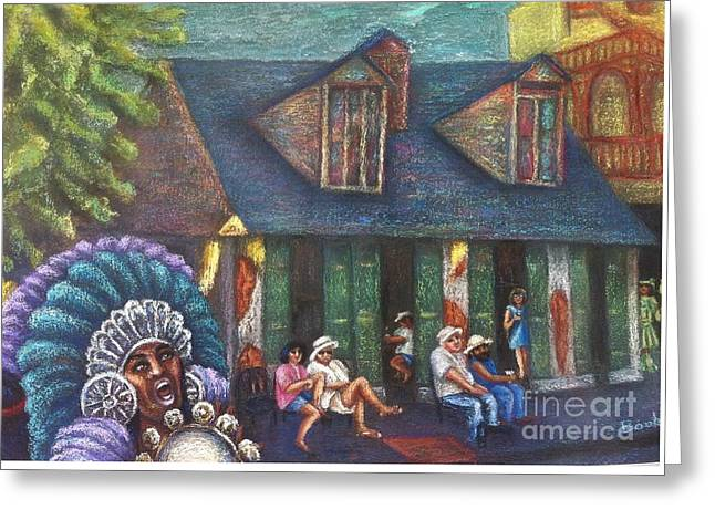 Louisiana Pastels Greeting Cards - Mardi Gras Indians at Blacksmith Shop Greeting Card by Beverly Boulet