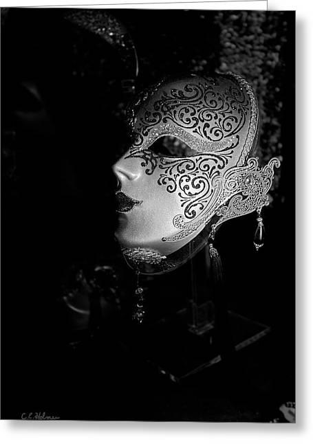 Mardi Gras Mask  B-w Greeting Card by Christopher Holmes