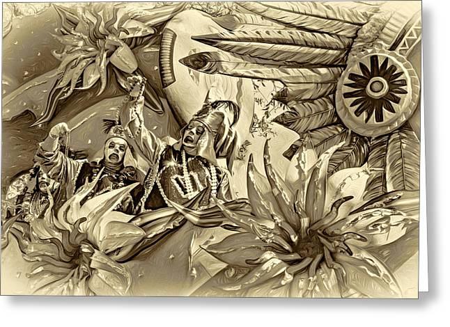 Mardi Gras - New Orleans 3 - Sepia Greeting Card by Steve Harrington