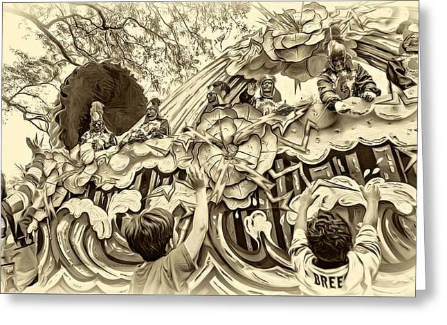 Mardi Gras - New Orleans - Sepia Greeting Card by Steve Harrington