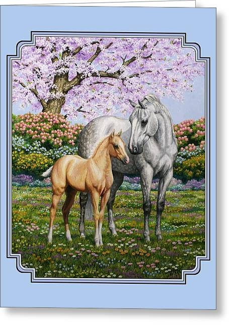 Grey Horse Greeting Cards - Mare and Foal Pillow Blue Greeting Card by Crista Forest