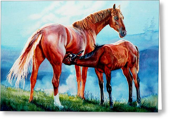 Action Portrait From Photo Greeting Cards - Mare With Foal Greeting Card by Hanne Lore Koehler