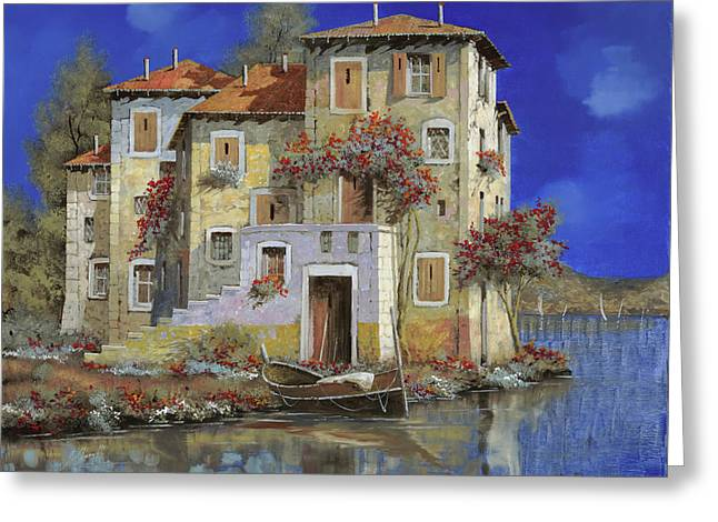 Lakescape Greeting Cards - Mareblu Greeting Card by Guido Borelli