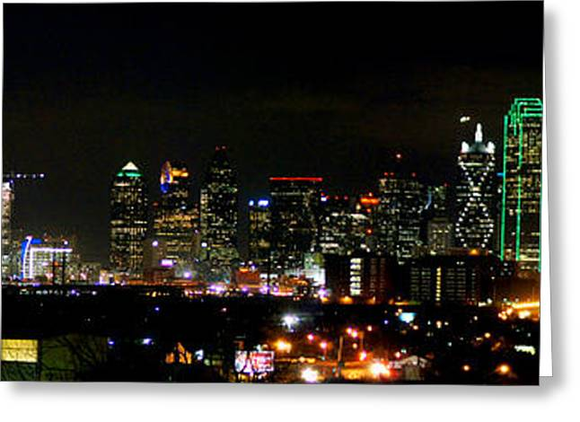 Night Photography Greeting Cards - Margaret Hunt Hill Bridge and Dallas Skyline Greeting Card by Wendy Emel