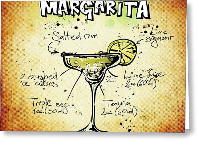 Bartender Drawings Greeting Cards - Margarita Recipe Greeting Card by Alexas Fotos