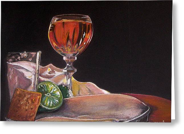 Wine-glass Pastels Greeting Cards - Margaritaville Greeting Card by Deborah Colony