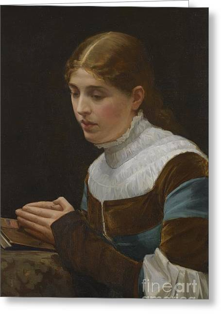 Marguerite Prayer Greeting Card by John Lavery