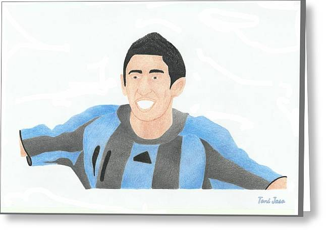 Player Drawings Greeting Cards - Maria Di Maria Greeting Card by Toni Jaso