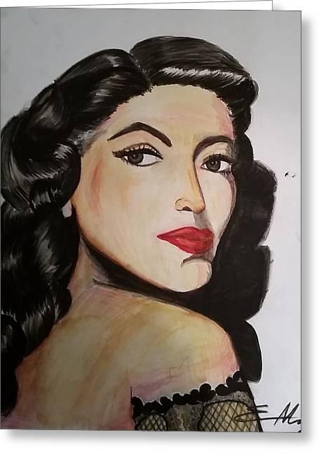 Starlet Drawings Greeting Cards - Maria Felix Greeting Card by Estella Mendez