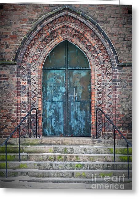 Medieval Temple Greeting Cards - Maria Kyrka Church Door Greeting Card by Antony McAulay